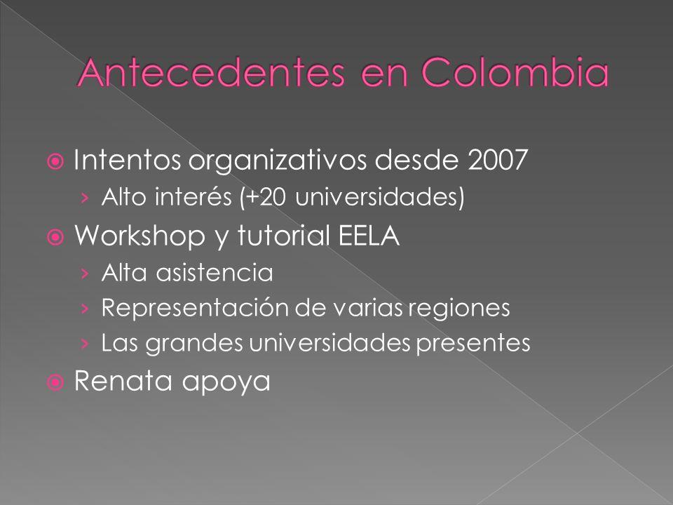 Intentos organizativos desde 2007 Alto interés (+20 universidades) Workshop y tutorial EELA Alta asistencia Representación de varias regiones Las grandes universidades presentes Renata apoya