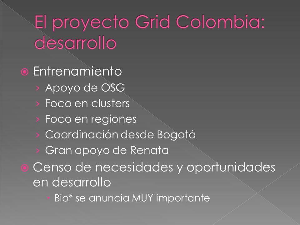 GISELA Grid Initiatives for e-Science virtual communities in Europe and LatinAmerica Alineación de objetivos GC-Gisela Grid Colombia es el aporte colombiano a esta Consolidación de la infraestructura Identificación de VOs Dos middleware CA aprobada TAGPM meeting MinTICs: 1FTE + movilidad + formaciones Large Grid Initiatives Grid Initiatives for e-Science virtual communities in Europe and Latin America