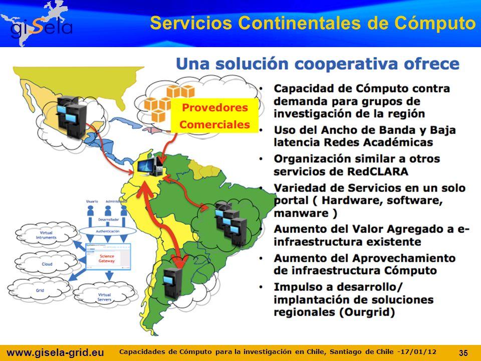 www.gisela-grid.eu 35 Servicios Continentales de Cómputo Provedores Comerciales Capacidades de Cómputo para la investigación en Chile, Santiago de Chile -17/01/12