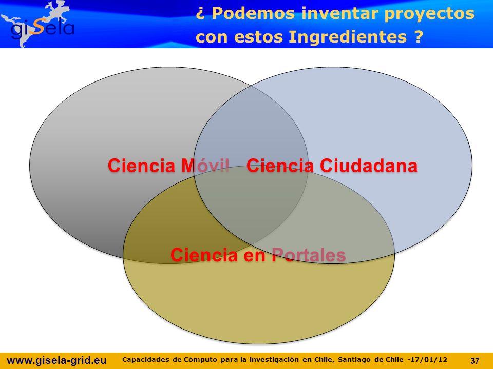 www.gisela-grid.eu Ciencia Móvil Ciencia en Portales Ciencia Ciudadana ¿ Podemos inventar proyectos con estos Ingredientes .