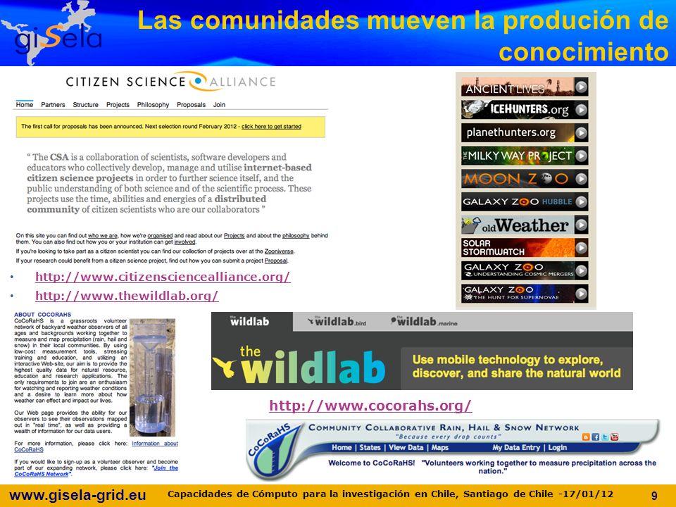 www.gisela-grid.eu http://www.citizensciencealliance.org/ http://www.thewildlab.org/ http://www.cocorahs.org/ Las comunidades mueven la produción de conocimiento 9 Capacidades de Cómputo para la investigación en Chile, Santiago de Chile -17/01/12