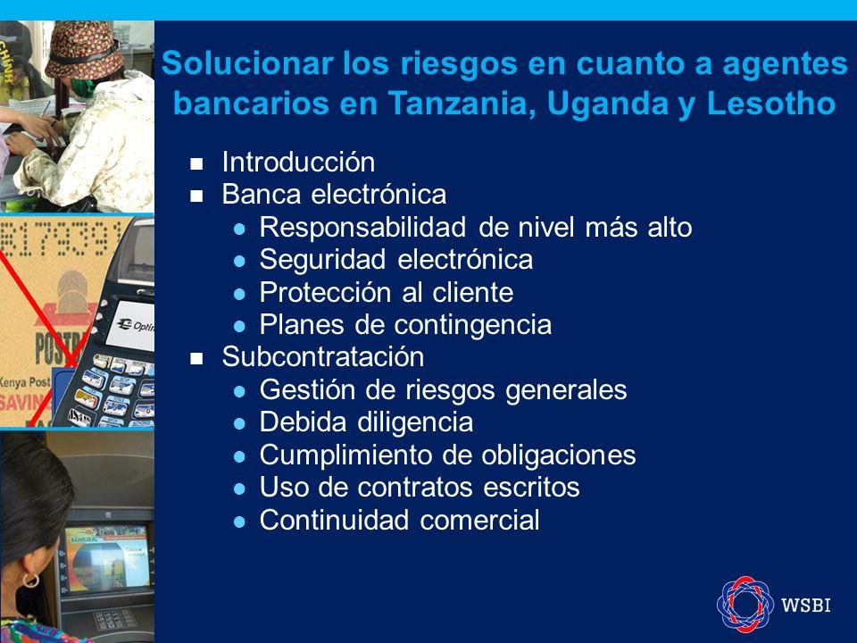 Introducción Banca electrónica Responsabilidad de nivel más alto Seguridad electrónica Protección al cliente Planes de contingencia Subcontratación Gestión de riesgos generales Debida diligencia Cumplimiento de obligaciones Uso de contratos escritos Continuidad comercial Solucionar los riesgos en cuanto a agentes bancarios en Tanzania, Uganda y Lesotho