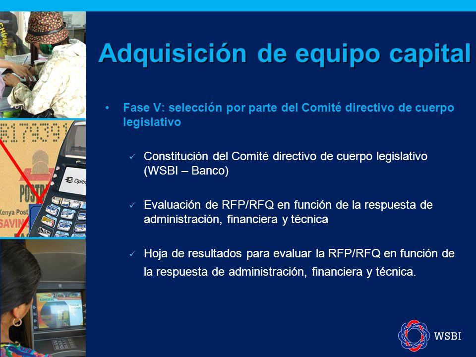 Fase V: selección por parte del Comité directivo de cuerpo legislativo Constitución del Comité directivo de cuerpo legislativo (WSBI – Banco) Evaluación de RFP/RFQ en función de la respuesta de administración, financiera y técnica Hoja de resultados para evaluar la RFP/RFQ en función de la respuesta de administración, financiera y técnica.