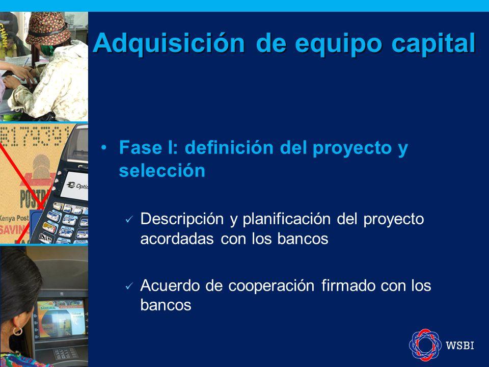 Fase I: definición del proyecto y selección Descripción y planificación del proyecto acordadas con los bancos Acuerdo de cooperación firmado con los bancos Adquisición de equipo capital