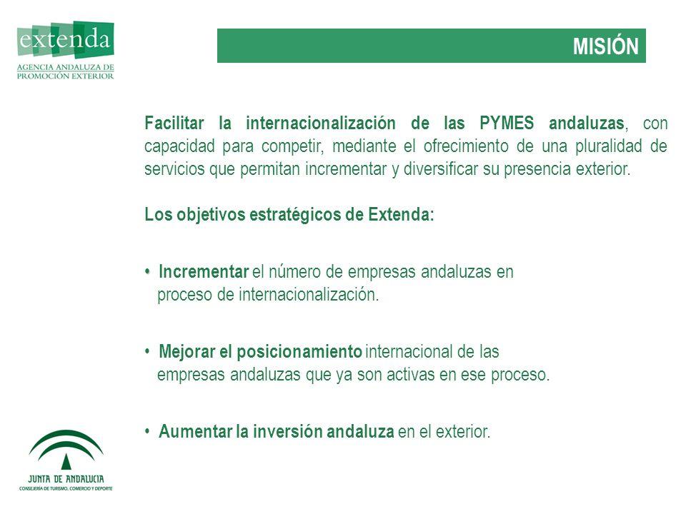 Facilitar la internacionalización de las PYMES andaluzas, con capacidad para competir, mediante el ofrecimiento de una pluralidad de servicios que permitan incrementar y diversificar su presencia exterior.
