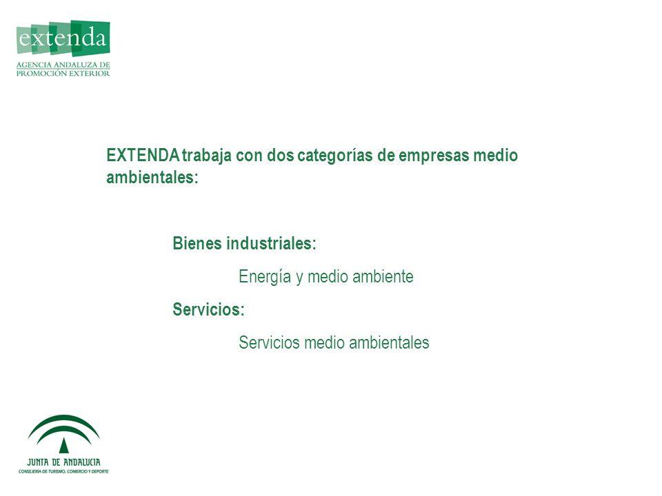 EXTENDA trabaja con dos categorías de empresas medio ambientales: Bienes industriales: Energía y medio ambiente Servicios: Servicios medio ambientales