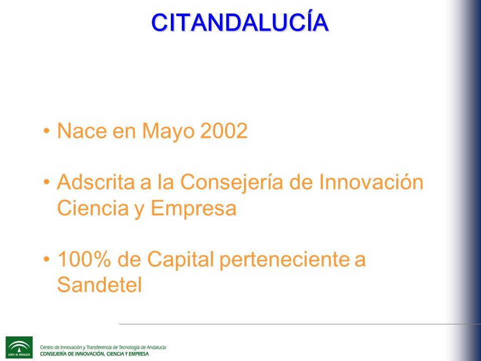 Nace en Mayo 2002 Adscrita a la Consejería de Innovación Ciencia y Empresa 100% de Capital perteneciente a Sandetel CITANDALUCÍA