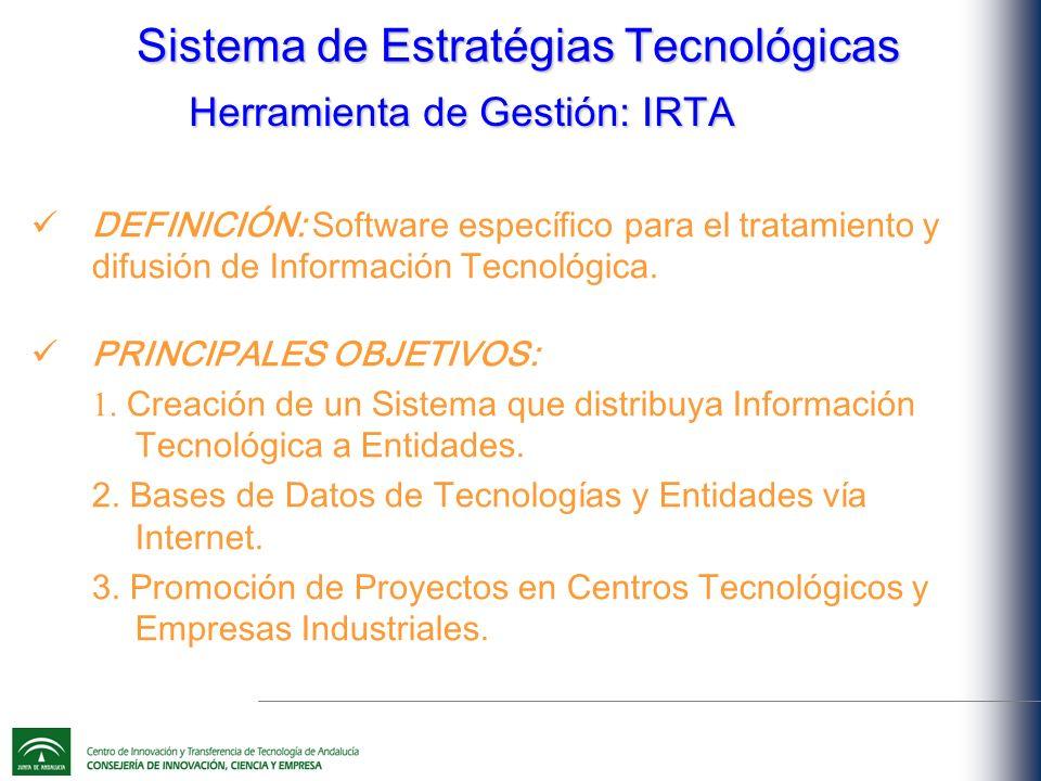 Sistema de Estratégias Tecnológicas DEFINICIÓN: Software específico para el tratamiento y difusión de Información Tecnológica.