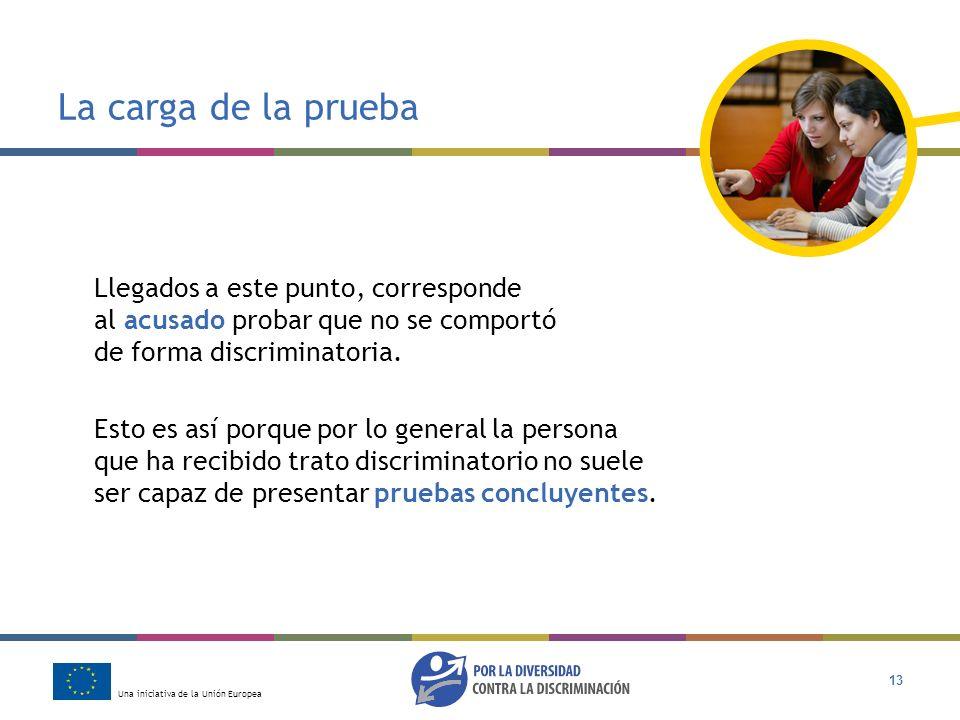 Una iniciativa de la Unión Europea 13 La carga de la prueba Llegados a este punto, corresponde al acusado probar que no se comportó de forma discrimin
