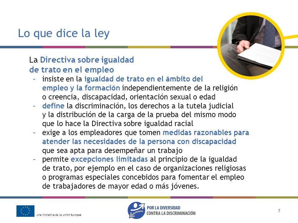 Una iniciativa de la Unión Europea 7 Lo que dice la ley La Directiva sobre igualdad de trato en el empleo –insiste en la igualdad de trato en el ámbit