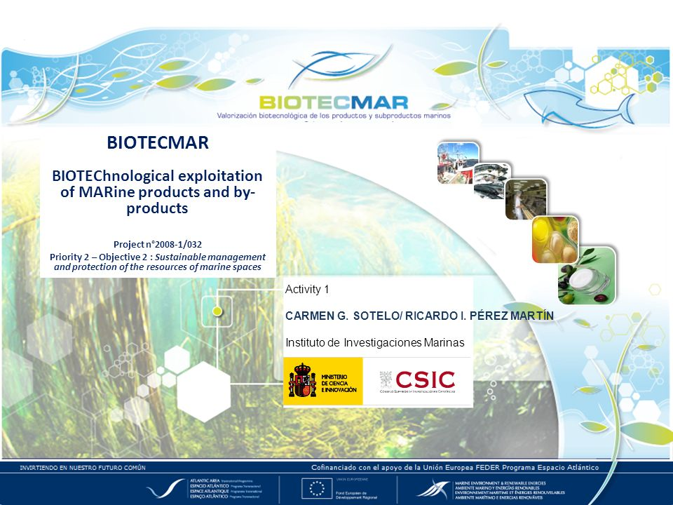 BIOTECMAR BIOTEChnological exploitation of MARine products and by- products Project n°2008-1/032 Priority 2 – Objective 2 : Sustainable management and protection of the resources of marine spaces Activity 1 CARMEN G.