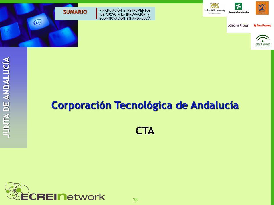 38 SUMARIO FINANCIACIÓN E INSTRUMENTOS DE APOYO A LA INNOVACIÓN Y ECOINNOVACIÓN EN ANDALUCÍA JUNTA DE ANDALUCÍA Corporación Tecnológica de Andalucía C