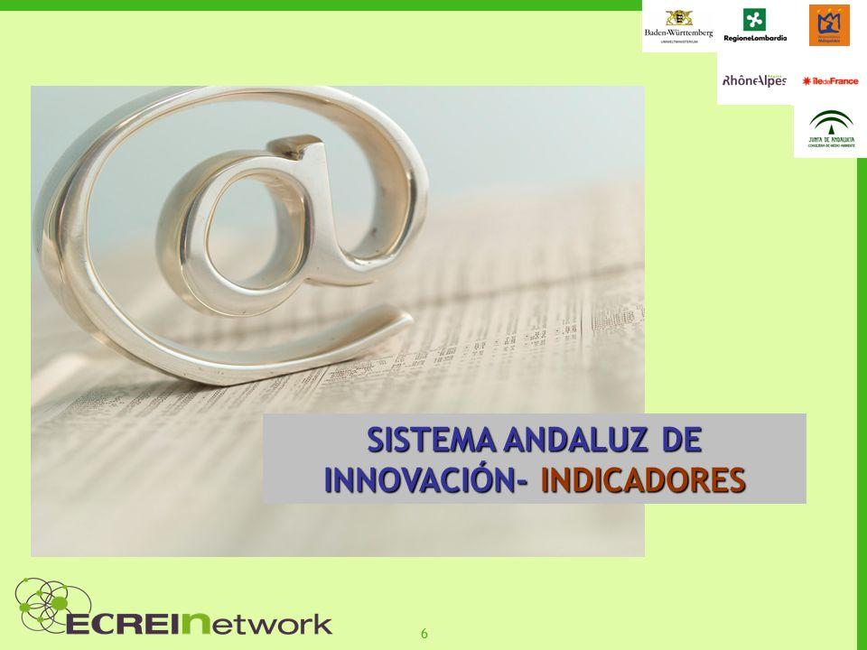 27 SUMARIO FINANCIACIÓN E INSTRUMENTOS DE APOYO A LA INNOVACIÓN Y ECOINNOVACIÓN EN ANDALUCÍA AGE Es el instrumento de programación con que cuenta el sistema español de ciencia y tecnología para establecer los objetivos y prioridades de la política de investigación, desarrollo e innovación a medio plazo PRESUPUESTO:8.000 M MARCO DE REFERENCIA ESTRATEGIA NACIONAL DE CIENCIA Y TECNOLOGÍA (escenario a 2015) Principios básicos poner las actividades de I+D+i al servicio de la ciudadanía, del bienestar social y de un desarrollo sostenible, con plena e igual incorporación de la mujer; constituirse en un factor de mejora de la competitividad empresarial y ser un elemento esencial para la generación de nuevos conocimientos.