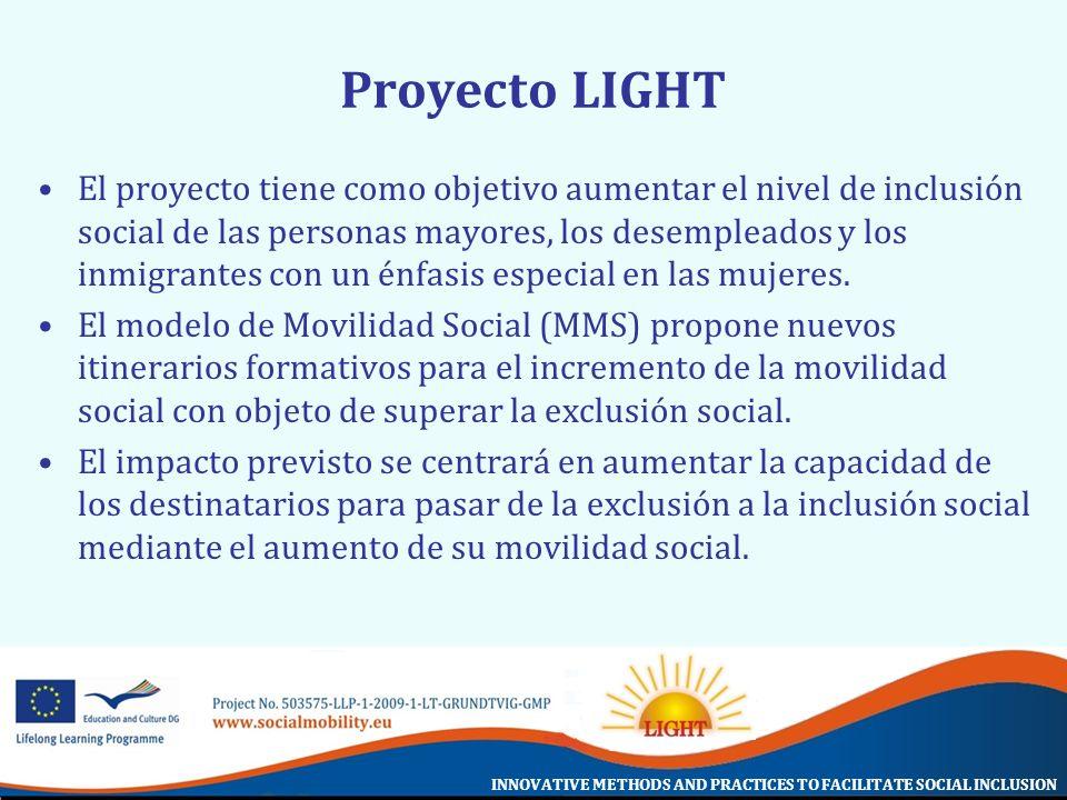 INNOVATIVE METHODS AND PRACTICES TO FACILITATE SOCIAL INCLUSION Proyecto LIGHT El proyecto tiene como objetivo aumentar el nivel de inclusión social d