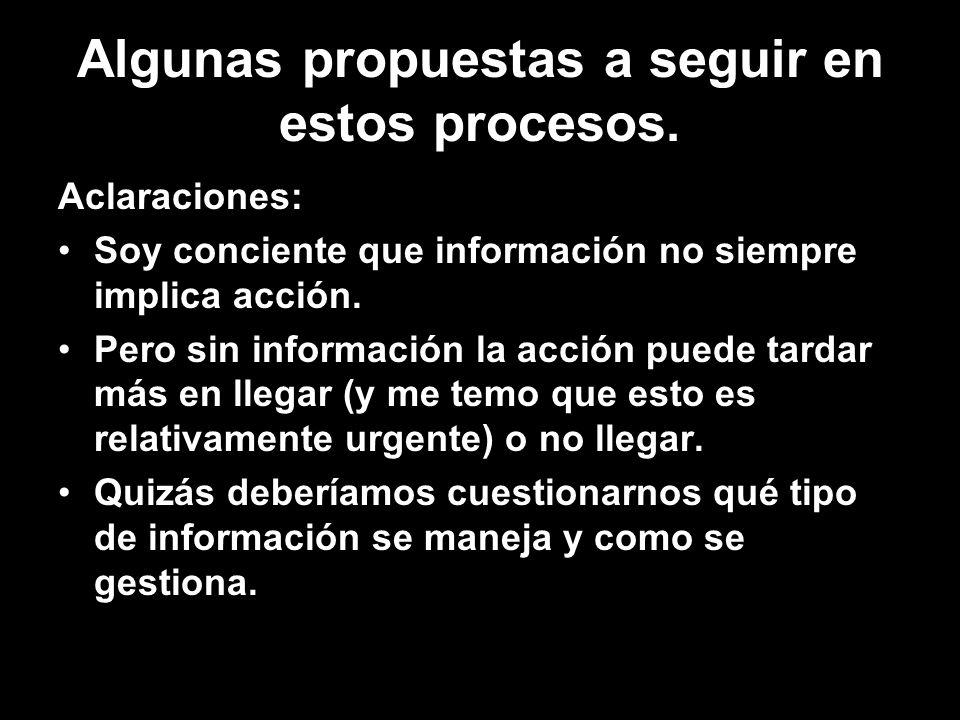 Algunas propuestas a seguir en estos procesos. Aclaraciones: Soy conciente que información no siempre implica acción. Pero sin información la acción p