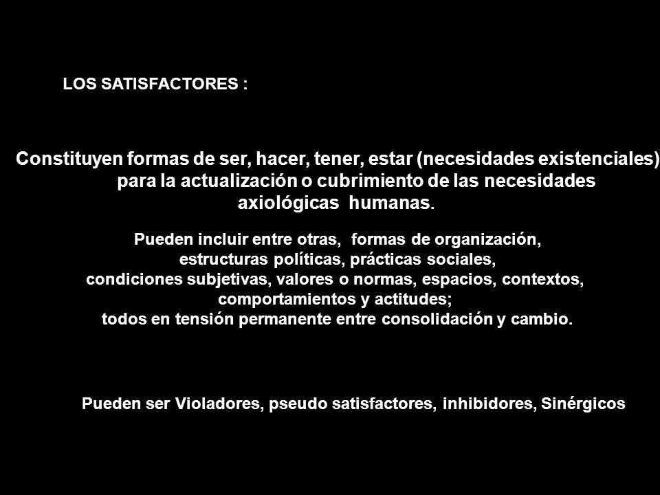 LOS SATISFACTORES : Constituyen formas de ser, hacer, tener, estar (necesidades existenciales) para la actualización o cubrimiento de las necesidades