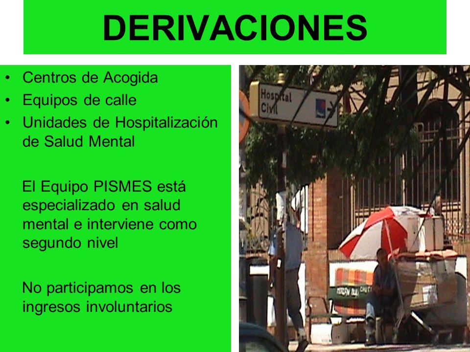 DERIVACIONES Centros de Acogida Equipos de calle Unidades de Hospitalización de Salud Mental El Equipo PISMES está especializado en salud mental e int