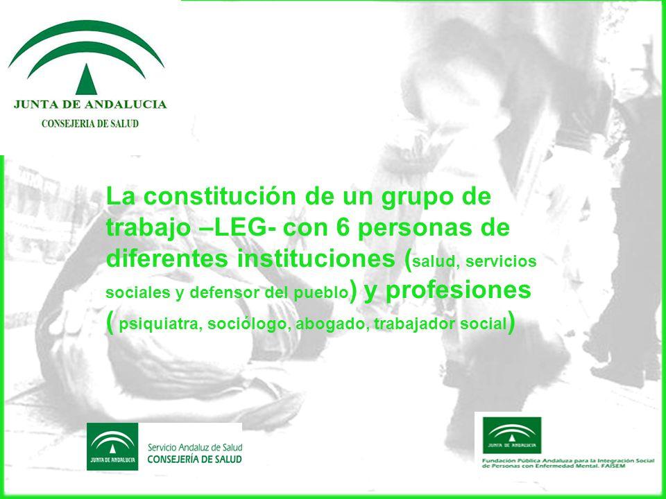 La constitución de un grupo de trabajo –LEG- con 6 personas de diferentes instituciones ( salud, servicios sociales y defensor del pueblo ) y profesio
