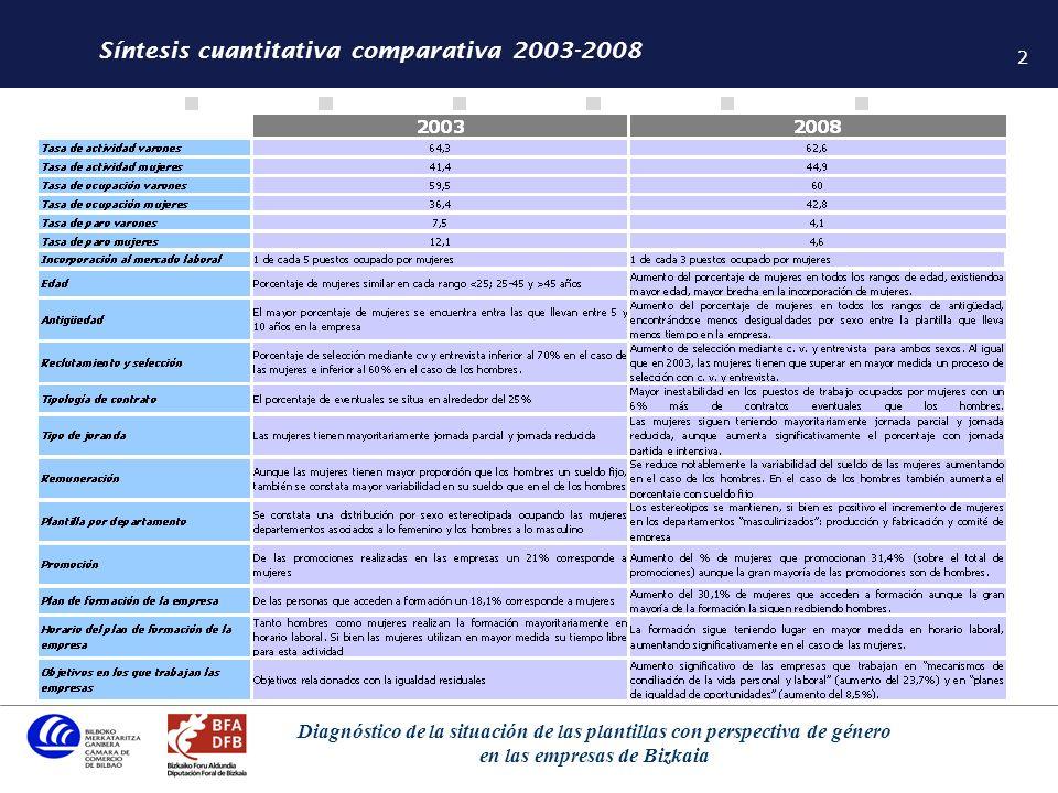 3 Diagnóstico de la situación de las plantillas con perspectiva de género en las empresas de Bizkaia Síntesis cualitativa comparativa 2003-2008