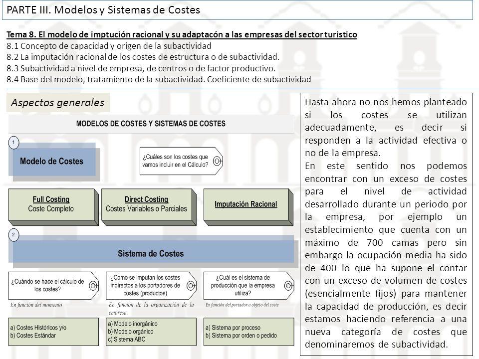 Tema 8. El modelo de imptución racional y su adaptacón a las empresas del sector turistico 8.1 Concepto de capacidad y origen de la subactividad 8.2 L