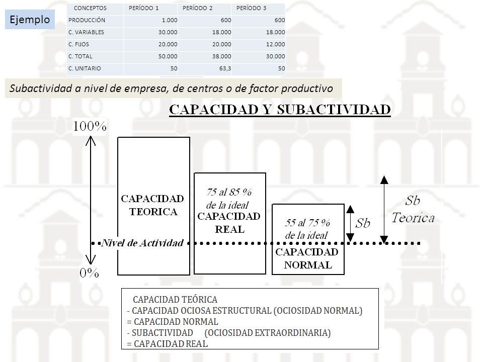Subactividad a nivel de empresa, de centros o de factor productivo Ejemplo CONCEPTOSPERÍODO 1PERÍODO 2PERÍODO 3 PRODUCCIÓN1.000600 C. VARIABLES30.0001