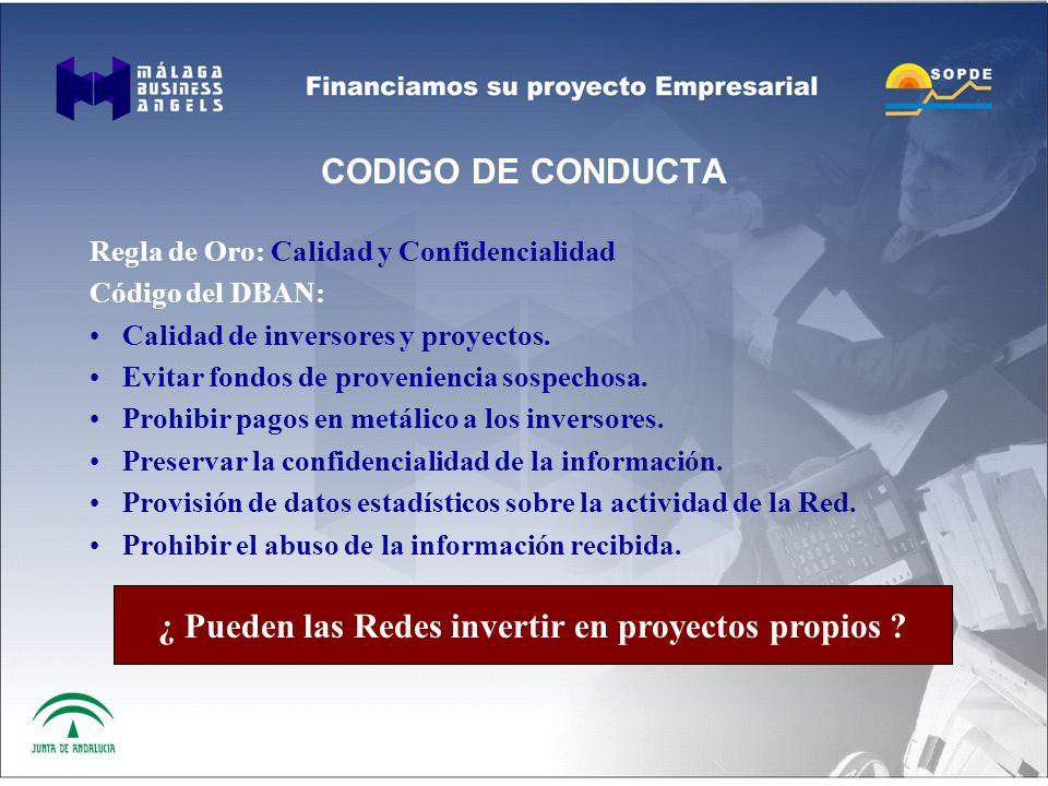 CODIGO DE CONDUCTA Regla de Oro: Calidad y Confidencialidad Código del DBAN: Calidad de inversores y proyectos.