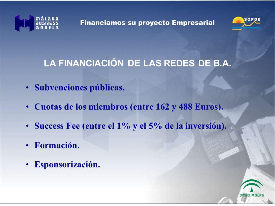 LA FINANCIACIÓN DE LAS REDES DE B.A. Subvenciones públicas.