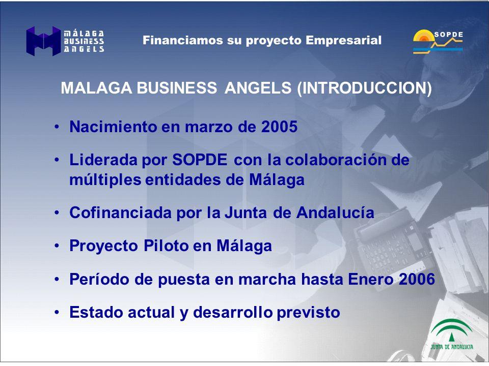 MALAGA BUSINESS ANGELS (INTRODUCCION) Nacimiento en marzo de 2005 Liderada por SOPDE con la colaboración de múltiples entidades de Málaga Cofinanciada por la Junta de Andalucía Proyecto Piloto en Málaga Período de puesta en marcha hasta Enero 2006 Estado actual y desarrollo previsto