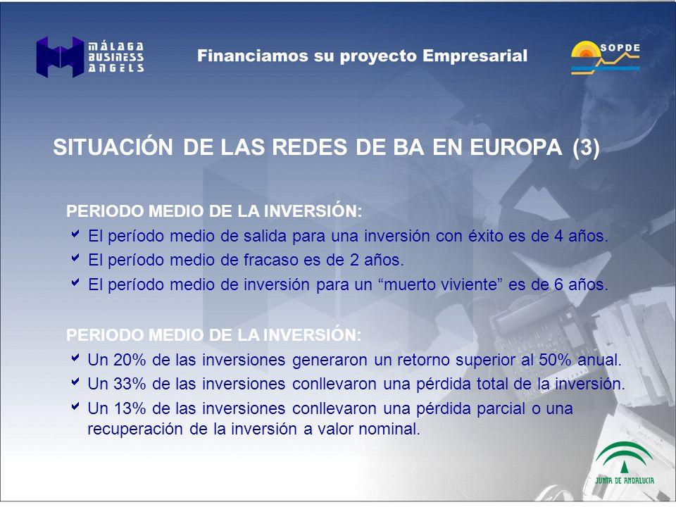 SITUACIÓN DE LAS REDES DE BA EN EUROPA (3) PERIODO MEDIO DE LA INVERSIÓN: El período medio de salida para una inversión con éxito es de 4 años.