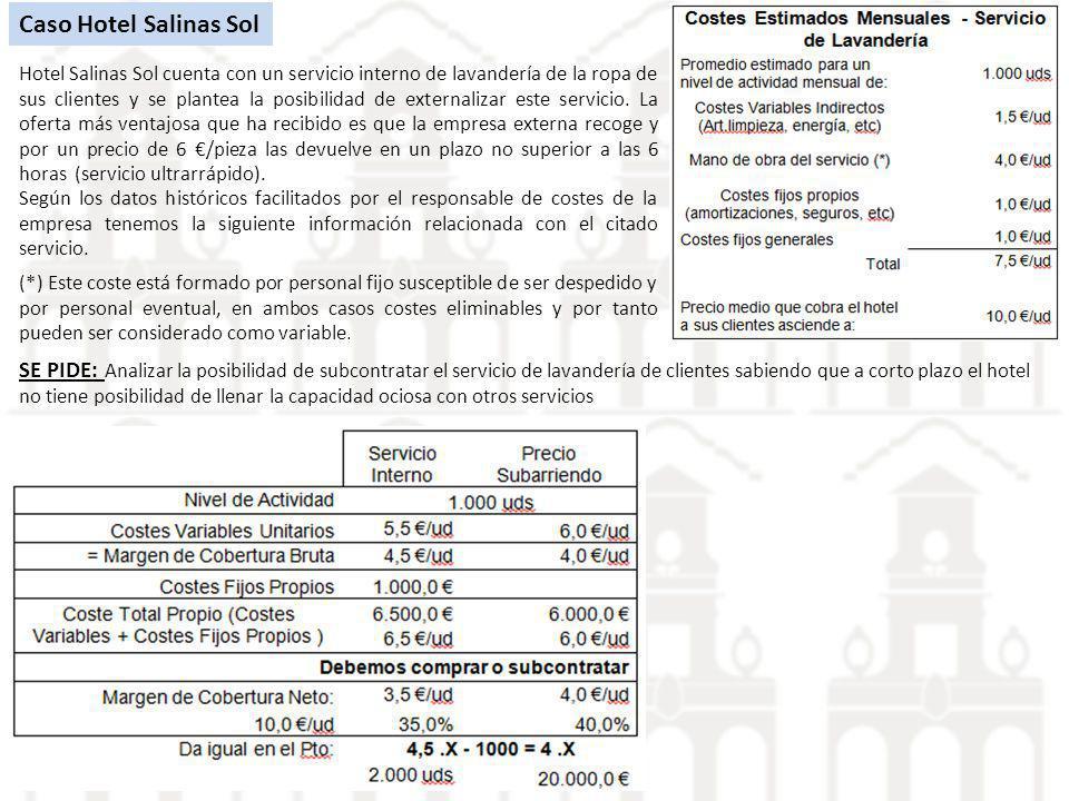 Caso Hotel Salinas Sol Hotel Salinas Sol cuenta con un servicio interno de lavandería de la ropa de sus clientes y se plantea la posibilidad de extern