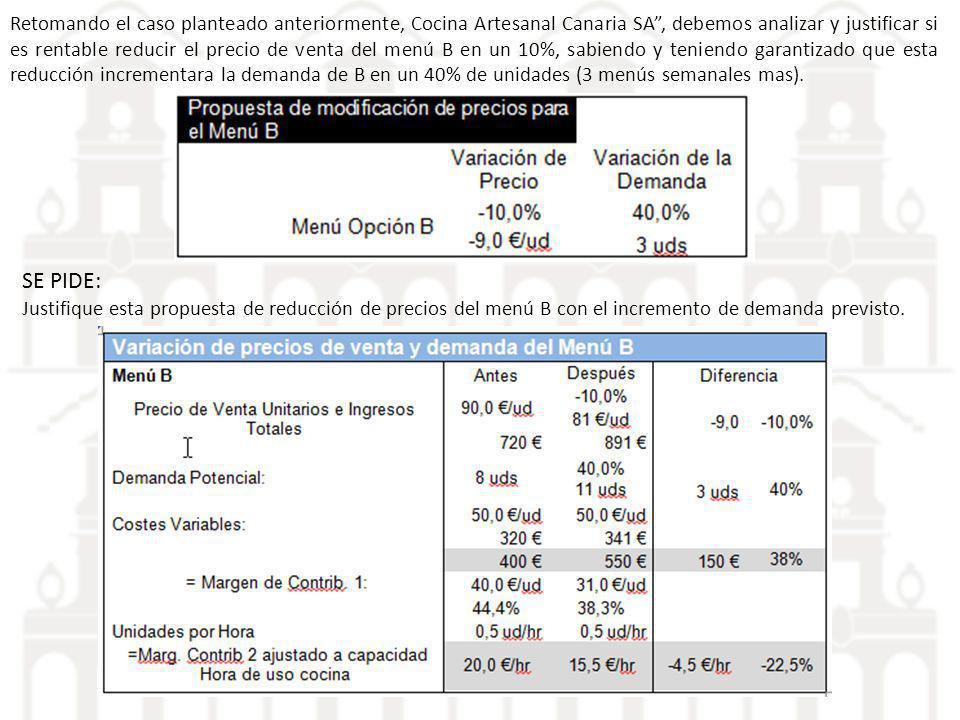 Retomando el caso planteado anteriormente, Cocina Artesanal Canaria SA, debemos analizar y justificar si es rentable reducir el precio de venta del me