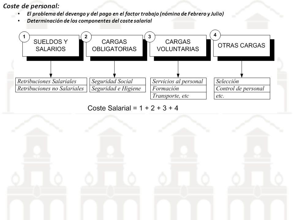 Coste de personal: El problema del devengo y del pago en el factor trabajo (nómina de Febrero y Julio) Determinación de los componentes del coste sala