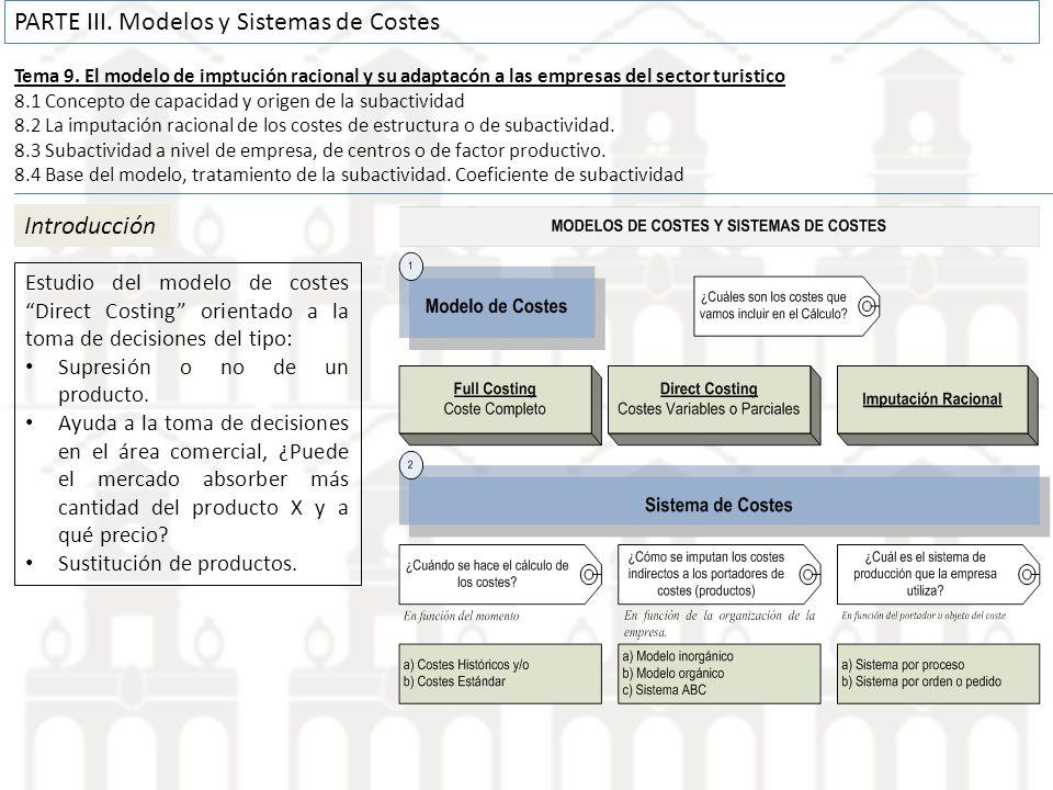 Tema 9. El modelo de imptución racional y su adaptacón a las empresas del sector turistico 8.1 Concepto de capacidad y origen de la subactividad 8.2 L