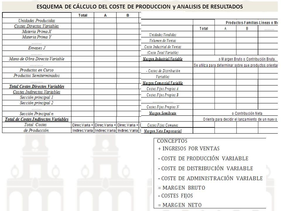 ESQUEMA DE CÁLCULO DEL COSTE DE PRODUCCION y ANALISIS DE RESULTADOS