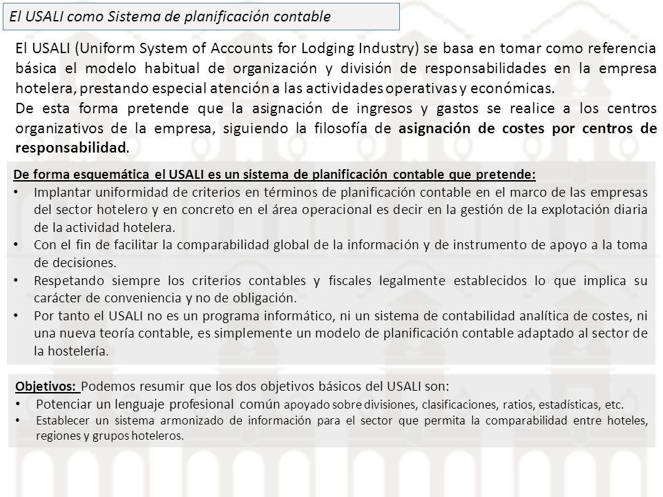 El USALI como Sistema de planificación contable El USALI (Uniform System of Accounts for Lodging Industry) se basa en tomar como referencia básica el