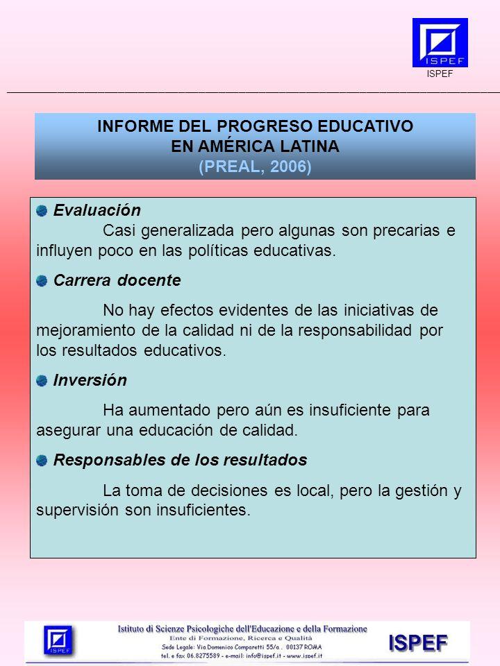 INFORME DEL PROGRESO EDUCATIVO EN AMÉRICA LATINA (PREAL, 2006) Evaluación Casi generalizada pero algunas son precarias e influyen poco en las políticas educativas.