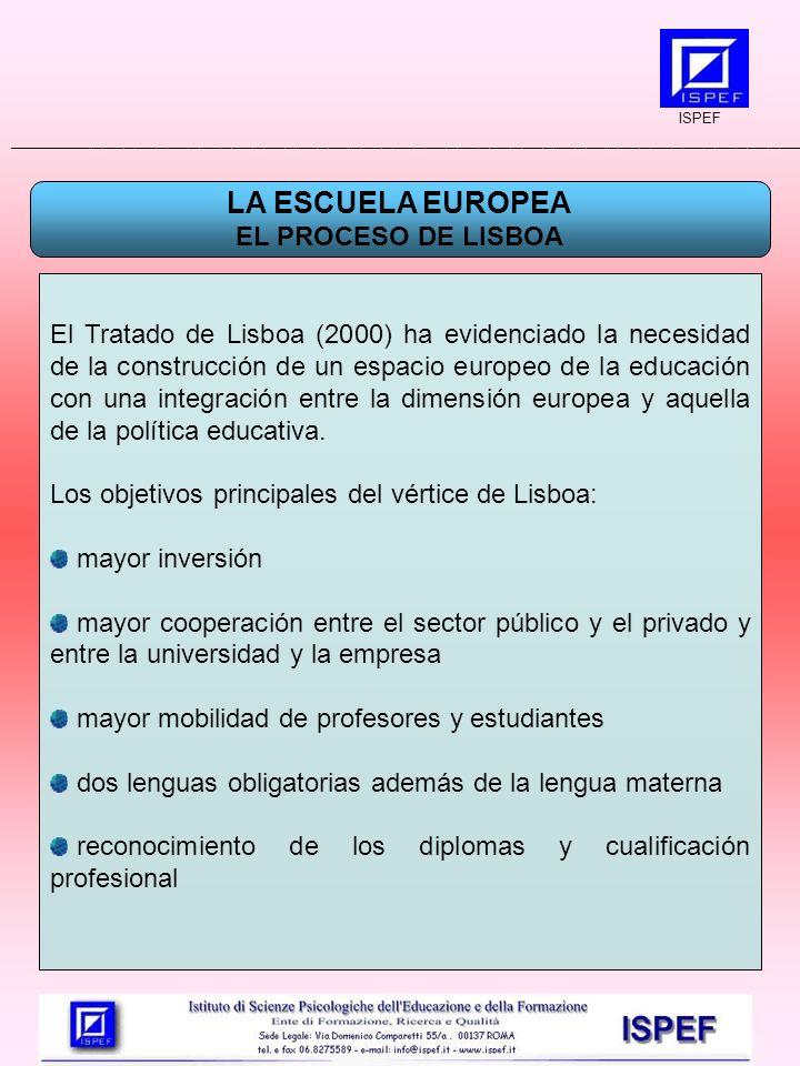 LA ESCUELA EUROPEA EL PROCESO DE LISBOA El Tratado de Lisboa (2000) ha evidenciado la necesidad de la construcción de un espacio europeo de la educación con una integración entre la dimensión europea y aquella de la política educativa.