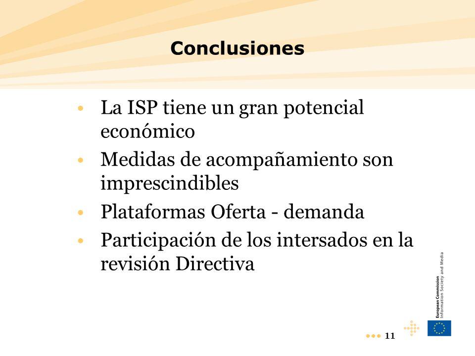 11 Conclusiones La ISP tiene un gran potencial económico Medidas de acompañamiento son imprescindibles Plataformas Oferta - demanda Participación de los intersados en la revisión Directiva