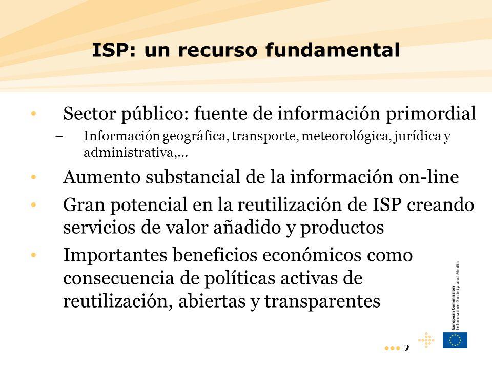 3 Valor de la ISP MEPSIR (EU): 10 - 48.000 millones OFT (UK): – Valor actual: 730 milliones –Potencial: 1500 milliones GFII (FR) : 500-670 millones - Mercado información electrónica