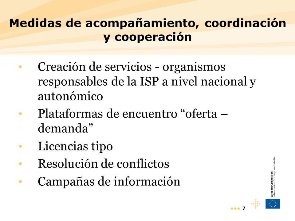 7 Medidas de acompañamiento, coordinación y cooperación Creación de servicios - organismos responsables de la ISP a nivel nacional y autonómico Plataformas de encuentro oferta – demanda Licencias tipo Resolución de conflictos Campañas de información