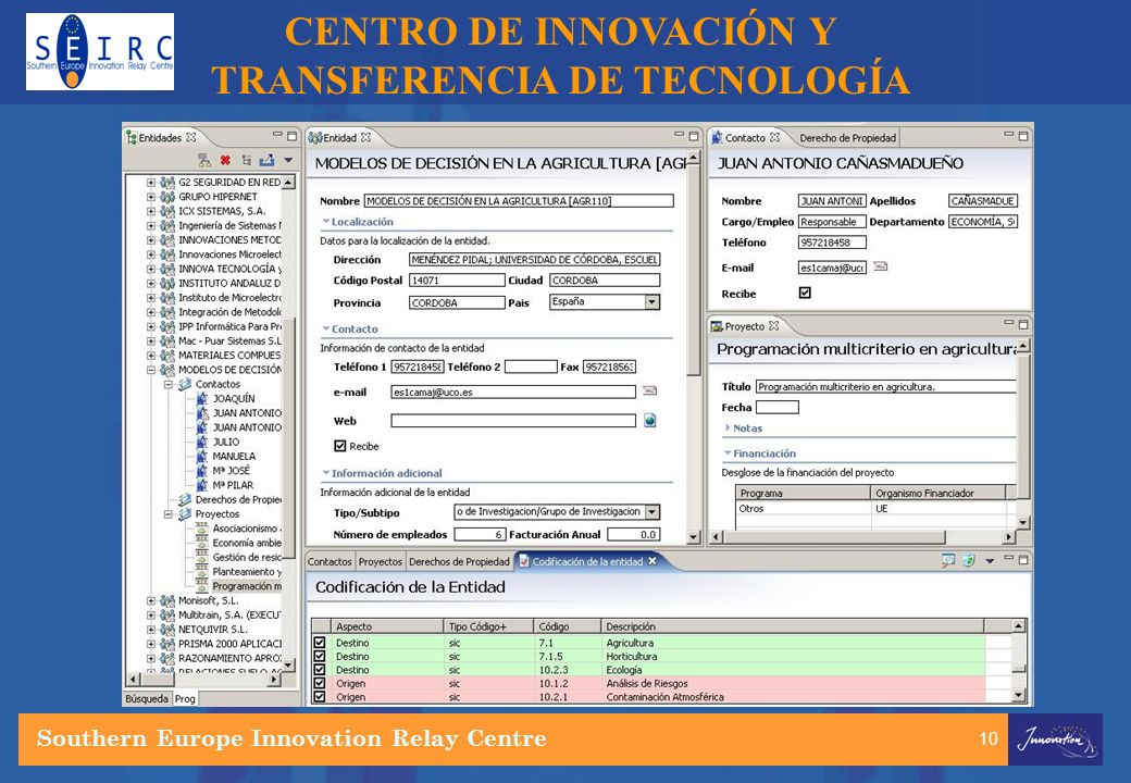 10 CENTRO DE INNOVACIÓN Y TRANSFERENCIA DE TECNOLOGÍA Southern Europe Innovation Relay Centre
