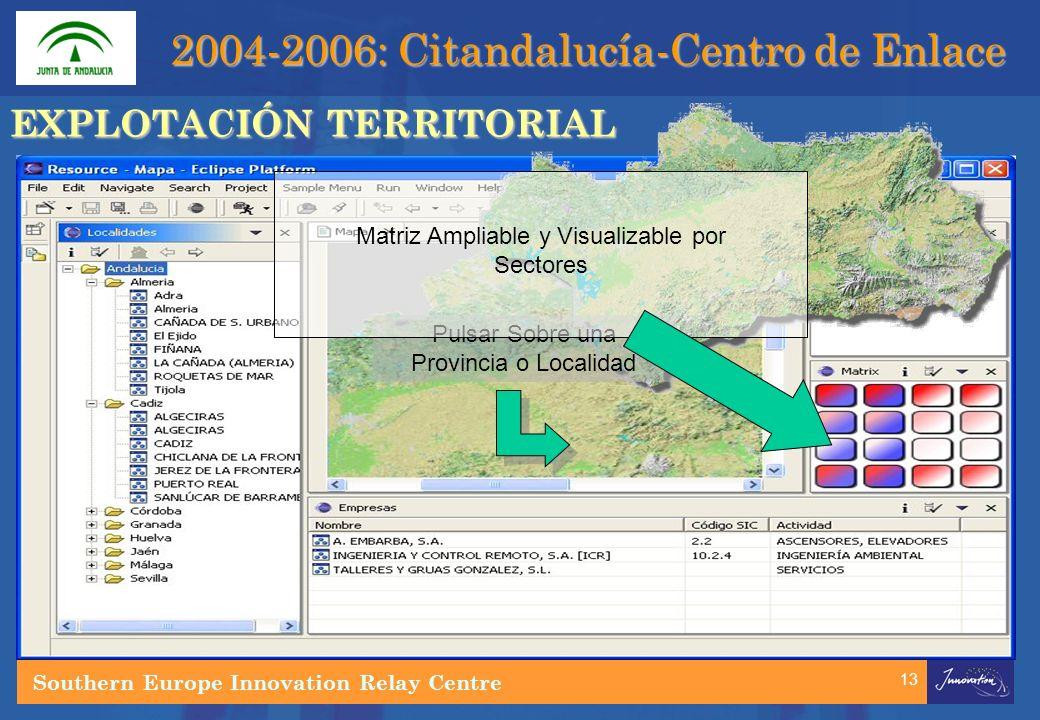 13 Pulsar Sobre una Provincia o Localidad Matriz Ampliable y Visualizable por Sectores EXPLOTACIÓN TERRITORIAL Southern Europe Innovation Relay Centre 2004-2006: Citandalucía-Centro de Enlace