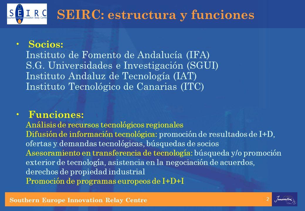 2 SEIRC: estructura y funciones Socios: Instituto de Fomento de Andalucía (IFA) S.G.