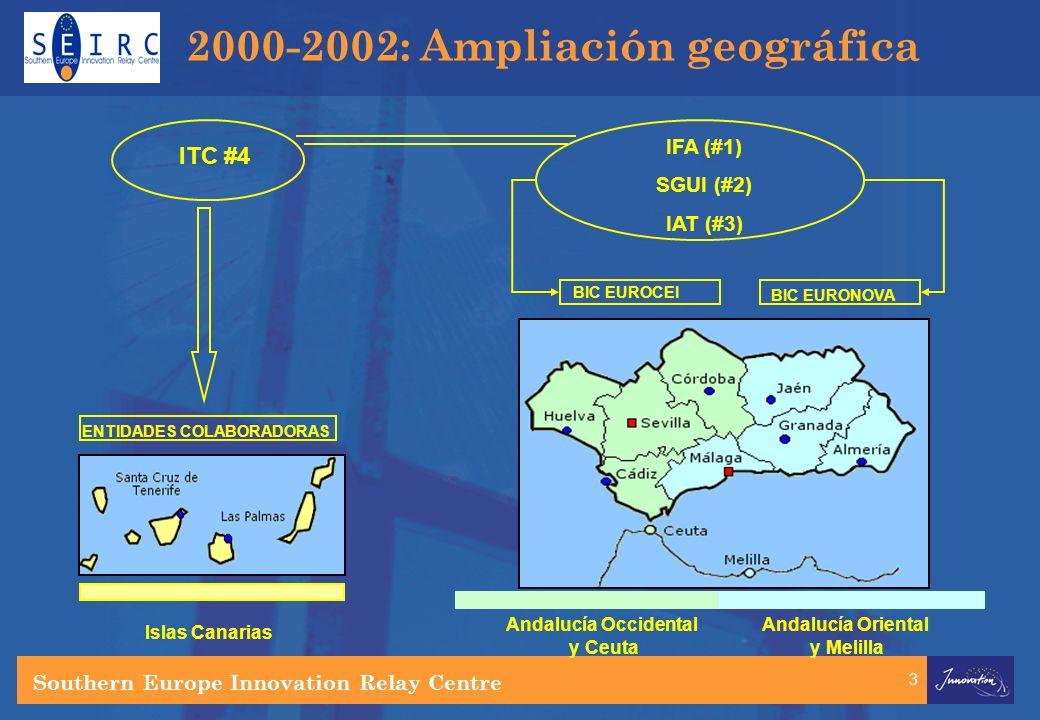 3 ITC #4 IFA (#1) SGUI (#2) IAT (#3) BIC EUROCEI BIC EURONOVA ENTIDADES COLABORADORAS Islas Canarias Andalucía Occidental y Ceuta Andalucía Oriental y Melilla 2000-2002: Ampliación geográfica Southern Europe Innovation Relay Centre
