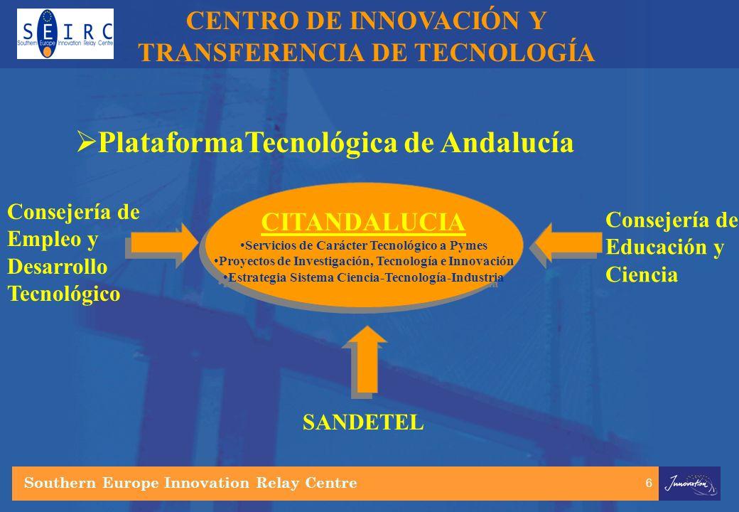 6 CENTRO DE INNOVACIÓN Y TRANSFERENCIA DE TECNOLOGÍA PlataformaTecnológica de Andalucía Consejería de Empleo y Desarrollo Tecnológico Consejería de Educación y Ciencia Southern Europe Innovation Relay Centre CITANDALUCIA Servicios de Carácter Tecnológico a Pymes Proyectos de Investigación, Tecnología e Innovación Estrategia Sistema Ciencia-Tecnología-Industria CITANDALUCIA Servicios de Carácter Tecnológico a Pymes Proyectos de Investigación, Tecnología e Innovación Estrategia Sistema Ciencia-Tecnología-Industria SANDETEL