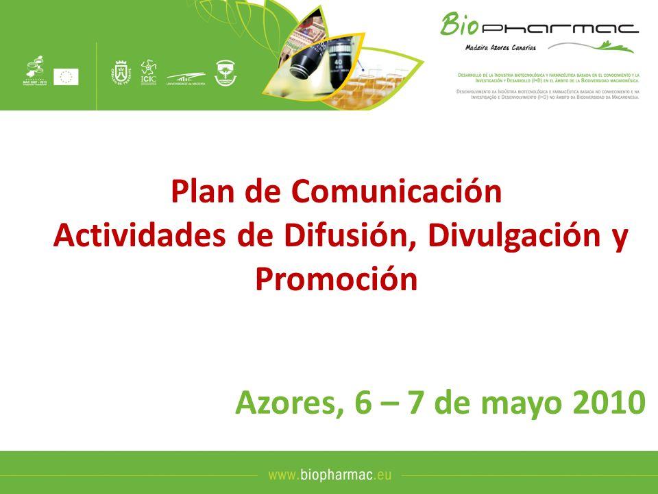 Página Web La Pagina web del Proyecto va a ser: www.biopharmac.euwww.biopharmac.eu Va a contar con las siguientes funcionalidades: Disponible en tres idiomas (EN, ES, POR) Permitir acceso a externos y acceso INTRANET para socios.