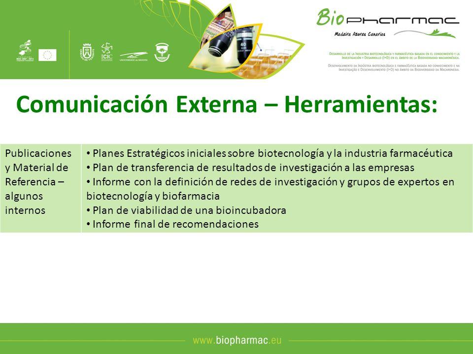 Comunicación Externa – Herramientas: Publicaciones y Material de Referencia – algunos internos Planes Estratégicos iniciales sobre biotecnología y la