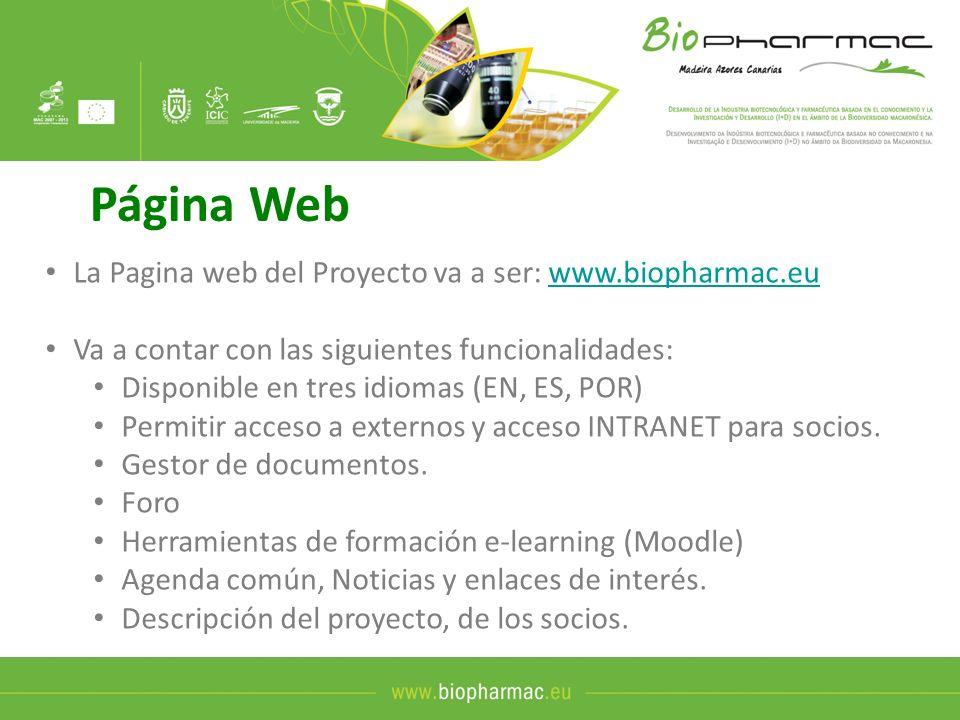Página Web La Pagina web del Proyecto va a ser: www.biopharmac.euwww.biopharmac.eu Va a contar con las siguientes funcionalidades: Disponible en tres