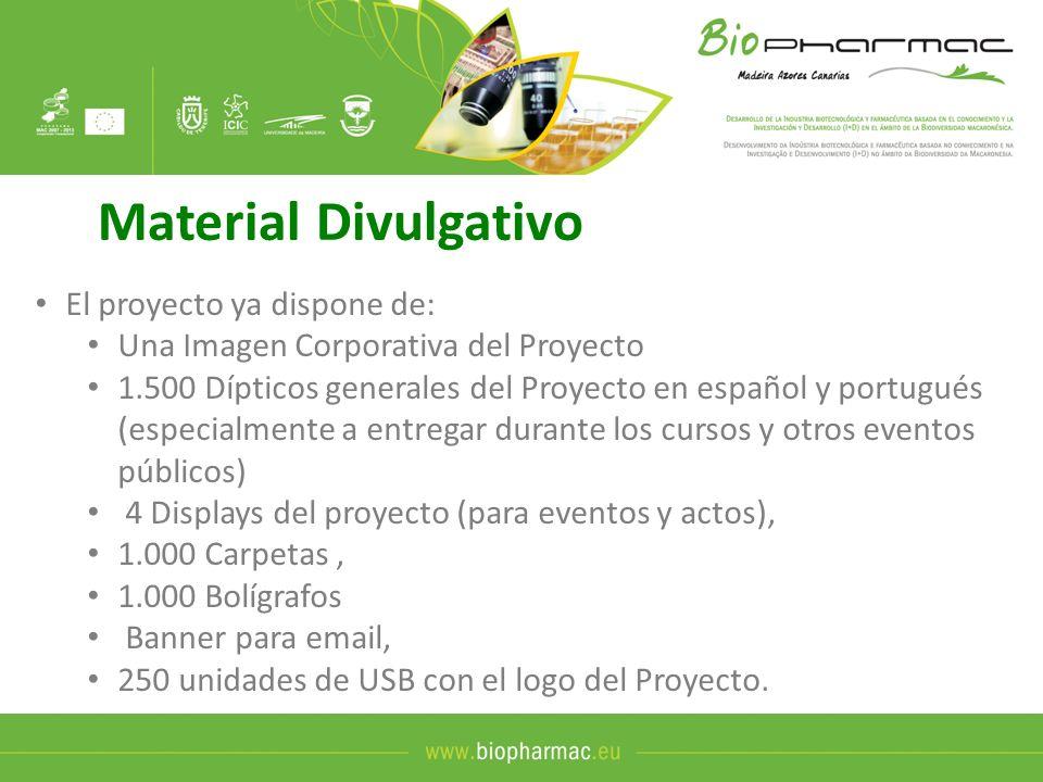 Material Divulgativo El proyecto ya dispone de: Una Imagen Corporativa del Proyecto 1.500 Dípticos generales del Proyecto en español y portugués (espe