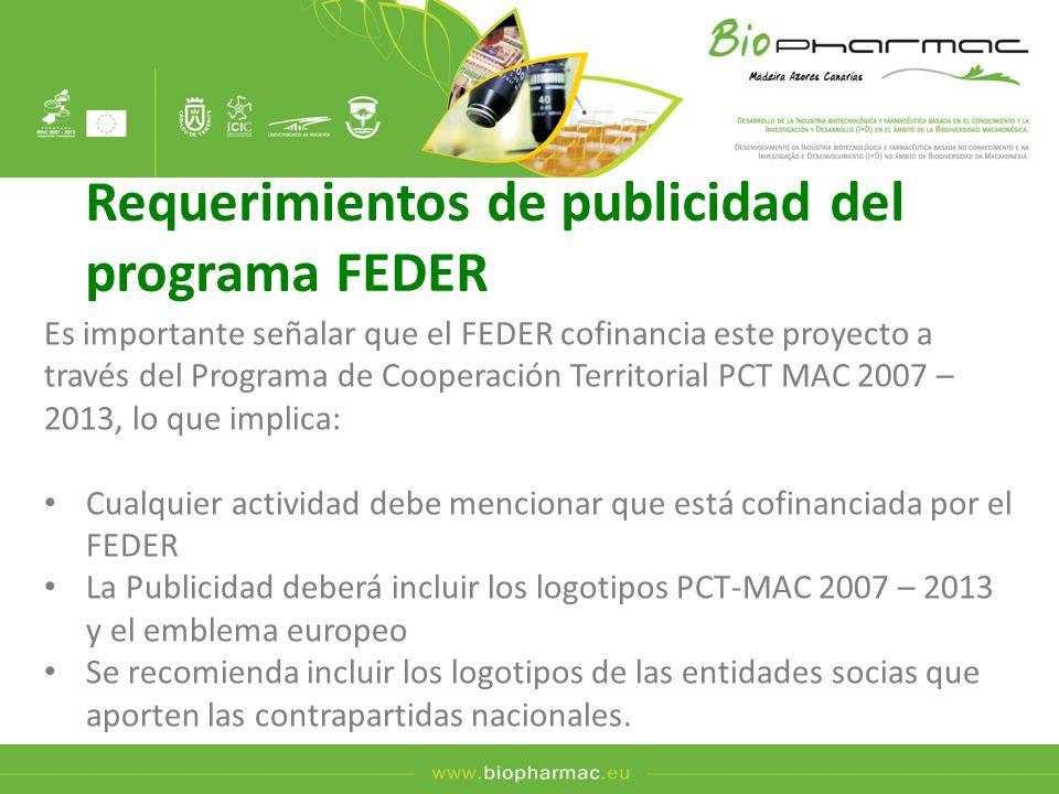 Requerimientos de publicidad del programa FEDER Es importante señalar que el FEDER cofinancia este proyecto a través del Programa de Cooperación Terri